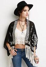 FOREVER 21 Sheer Black & White Embroidery Tassel Kimono Size S 8/10 - Pre-owned