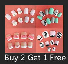 20/24 Pcs Girls Children Acrylic Fake False Nail Set Nail Tips Press On Glue