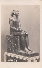 CF57.Vintage Postcard. Statue of a seated Egyptian Pharaoh?