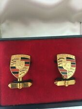 Men's Porsche Crest Cuff Links Colored Crest Gold-Plated Enamel with Tie clasp