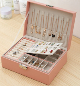New Large Double-Layer Leather Earrings Storage Box Multi-Function Jewellery Box