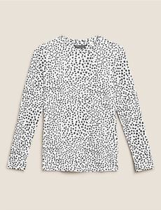 M&S COLLECTION WHITE MIX PURE COTTON ANIMAL PRINT STRAIGHT FIT TOP