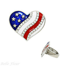 Stars and Stripes Heart Patriotic Stretch Ring Silvertone & Red, White, & Blue