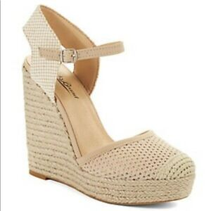 NEW Lucky Brand REANDRA Nomad Natural Tan Espadrille Wedge Sandals Platforms 8.5