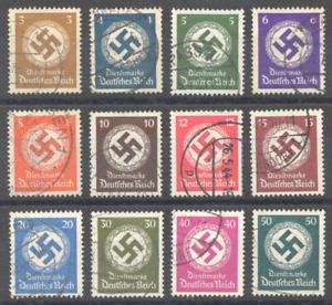 Deutsches Reich 1942/44, Dienstmarken, gestempelt, Mi 166 bis 177, 500 Euro+