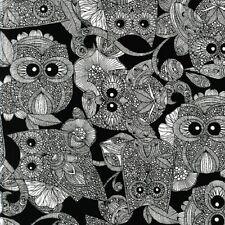 Black MulticoloredFat Quarter//FQCotton FabricPink Green Midnight Owls