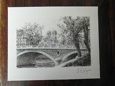 DESSIN ANCIEN VUE DE PARIS le pont Louis - Philippe NOTRE DAME signé DUFOUR