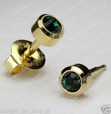 MAXI Gold Green Emerald May Gem Ear Piercing Earrings