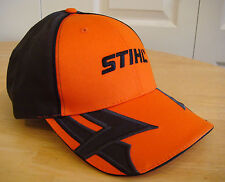 Stihl Hunter Orange Front Black Back Fabric Hat / Cap with Tribal Accent on Bill