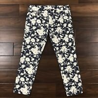 Tory Burch Women Size 28 Navy Blue White Floral Alexa Cropped Skinny Jeans