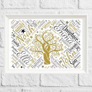 Personalised Family Tree GIFT Print Custom Names Wall Art Frame CHRISTMAS