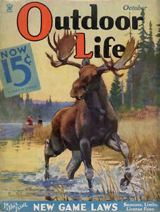 Vintage era Outdoor Life magazine cover reproduction metal sign