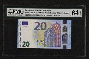 2015 European Union / Portugal 20 Euro Pick#22m PMG 64 EPQ Choice UNC