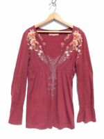 JOHNNY WAS~ JWLA ~Maroon Embroidered Cotton Babydoll Top (#J) ~ S