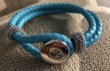 Jewel La La Snap Jewels Blue Faux Leather Braided Bracelet M L