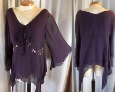 Lady 16 Purple Blouse Top Bead Batwing Sheer Flare Sleeve XL Asymmetrical Woman