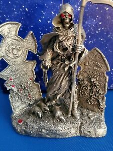 Grim Reaper Skeleton Among Tombs Pewter Figure Ral Partha PP574 1996 Bob Olley