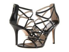 Michael Kors Collection Charlene Designer Black Leather Strappy Heels 8 38 $495