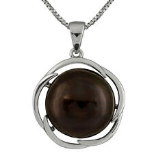 Sterling Silver rhodium plated pendant/chain with 13-14mm Black mabe pearl.