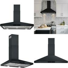 30 In. Wall Mount Range Hood In Black Professional Baffle Filters Led Lights