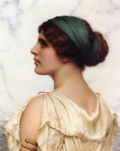 Dream-art Oil painting john william godward - nice young girl beauty female 24""