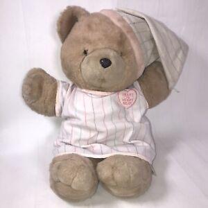 "Heart To Heart Bear 1986 Pajamas Bedtime Teddy No Heart Plush Stuffed Animal 18"""