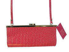 ladies pink fake croc  shoulder wedding handbag