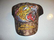 ADULT BROWN ED HARDY TIGER/GLITTER SNAPBACK HAT - NWOT