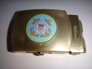 États-unis Coast Guard Surélevées Insignes Laiton Ceinture Boucle, Fait Par U.C