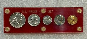 1959 US Silver Proof 5 Coin Set in Red Capitol Plastic Holder - Nice   (59-A)