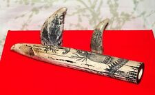 Whale's Tooth Faux Replicas Scrimshaw Resin Composite Lot of Three (3) Nice!