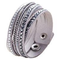 Crystal Closure Cuff Rhinestone Slake Deluxe Grey Bracelet Swarovski Element