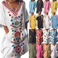 Womens Summer Boho V Neck Loose Linen Mini Dress Baggy Casual Dresses Plus Size