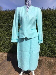 LIghtweight Linen Turquoise Skirt Suit