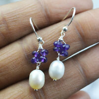 Pearl & Amethyst dangle earrings Jewelry 2.04 gms 925 Sterling Sliver
