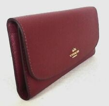 New Coach 16613 Pebbled Leather Checkbook wallet Crimson