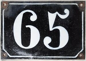 Large old black French house number 65 door gate plate plaque enamel metal sign