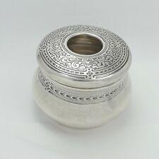Antique Tiffany & Co. Sterling Silver Patterned Hair Receiver Dresser Box Jar