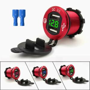 12V/24V Aluminum Waterproof Dual USB Fast Charger Socket Power Outlet Voltmeter
