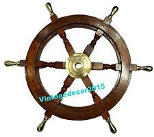 "Nautical Maritime Ship Wheel Brown Wooden Steering Wheel Wall Decor 24"" Inches"