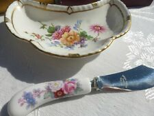 Royal Crown Derby Posies Bone China Small Dish with Butter Knife England MIB