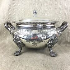 Antique Silver Plated Tureen  Large Victorian Ornate Twin Handled Engraved VTG