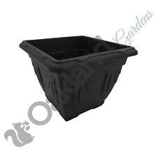 3 x 38cm Square Black Planter Plant Pot Venetian Flower Garden Plastic Patio