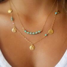 Double Layers Bleu Acrylique Mode Beads Chaîne Déclaration Collier Pendentif