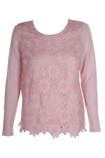 Charter Club Misty Pink Long-Sleeve Lace-Front Crew Neck Sweater S