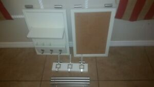 Pottery barn daily system wall organizer white corkboard key hook office rods