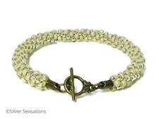 Glossy Antique Cream Stripey Kumihimo Bracelet, Seed Bead Fashion Bracelet
