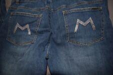 Michael Kors Women's Size 8 Medium Wash Denim Boot Cut Jeans MK Bling Letter