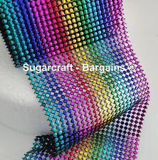 rainbow Bling Ribbon 24 Row multi Coloured 1 metre , cakes, craft, sewing, round