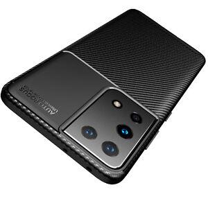 Hülle für Samsung Galaxy S21 Ultra 5G Schutzhülle Silikon Schwarz Carbon Optik